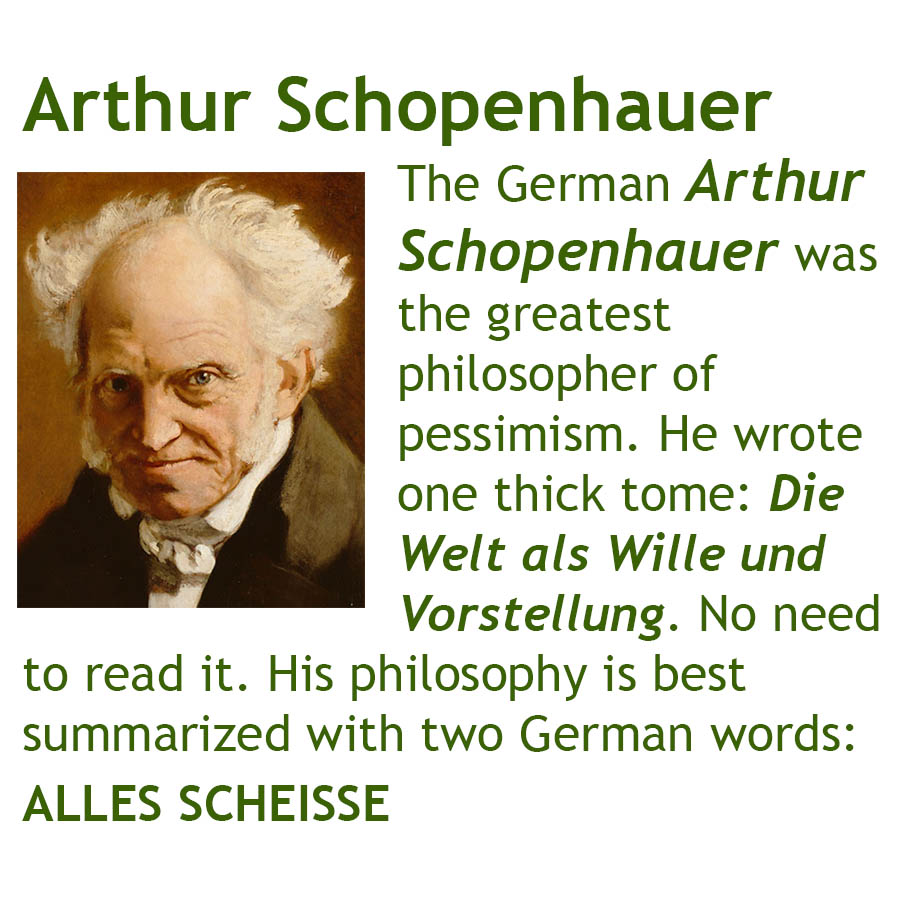 The German Arthur Schopenhauer was the greatest philosopher of pessimism. He wrote one thick tome: Die Welt als Wille und Vorstellung. No need to read it. His philosophy is best summarized with two German words: ALLES SCHEISSE