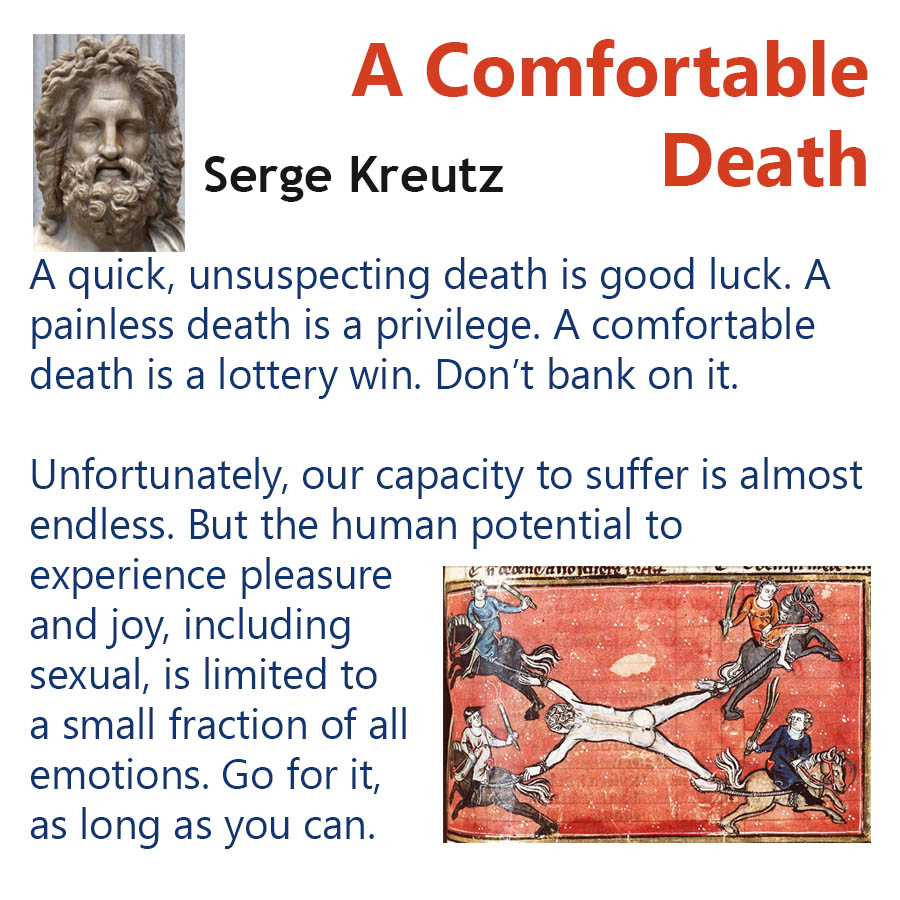A Comfortable Death Serge Kreutz - A quick, unsuspecting death is good luck. A painless death is a privilege. A comfortable death is a lottery win. Dont bank on it. - Unfortunately, our capacity to suffer is almost endless. But the human potential to experience pleasure and joy, including sexual, is limited to a small fraction of all emotions. Go for it, as long as you can.