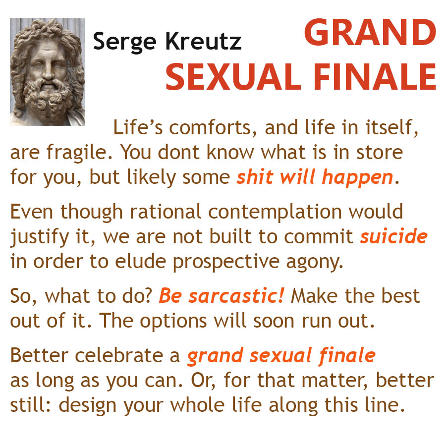 GRAND SEXUAL FINALE Lifes comforts, and life in itself, are fragile. You dont know what is in store for you, but likely some shit will happen. Even though rational contemplation would justify it, we are not built to commit suicide in order to elude prospective agony. So, what to do? Be sarcastic! Make the best out of it. The options will soon run out. Better celebrate a grand sexual finale as long as you can. Or, for that matter, better still: design your whole life along this line.