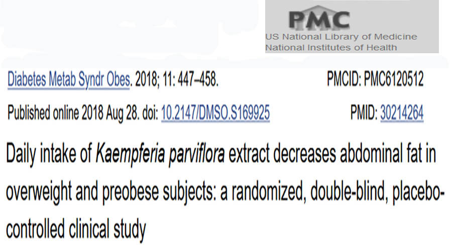 Kaempferia Parviflora decreases abdominal fat - Reference from the online library of the NIH, the National Institute of Health of the US government. Google for: Kaempferia Parviflora abdominal fat